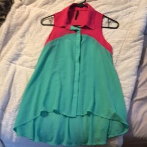 B.•Jewel turquoise hot pink sleeveless button up S